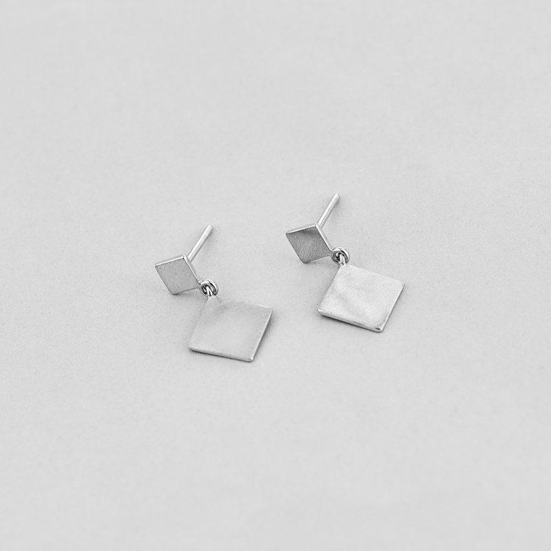 Серьги Серебряные Ромбики недорого