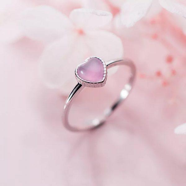 Кольцо Розовое Сердце недорого
