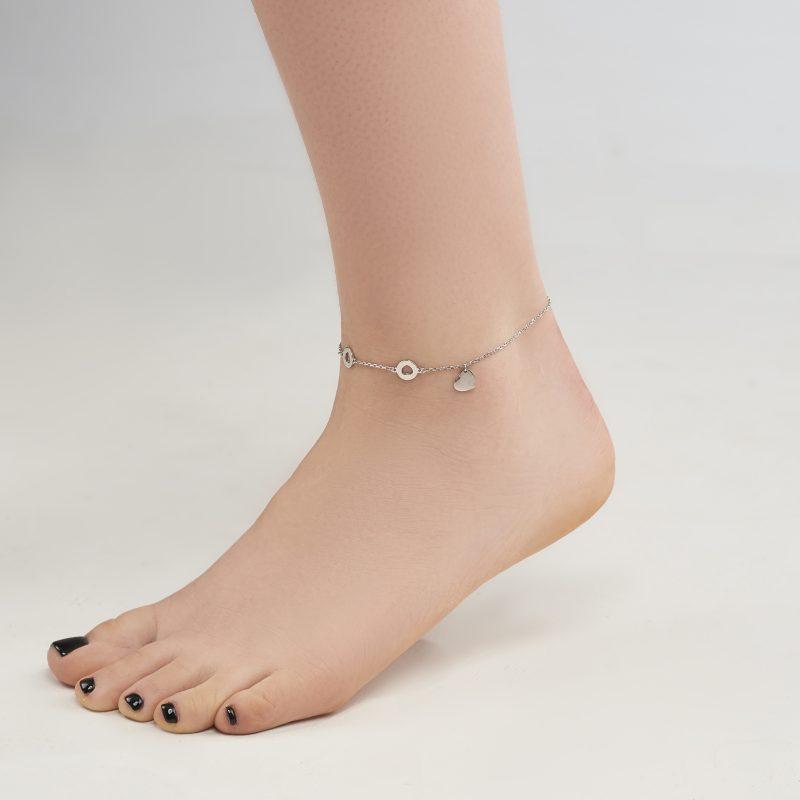 Браслет на ногу Серебрянная Любовь недорого